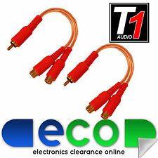 T1 Audio Car Amp CLEAR OFC RCA Phono Amplifier Splitters 1 Male 2 Female (Pair)