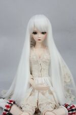 "BJD Doll Hair Wig 7-8"" 1/4 SD DZ DOD LUTS  Pure White Long Straight"