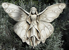 "MADAME BUTTERFLY Cast Cement 11"" Garden Insect Wall Sign Indoor Outdoor Plaque"