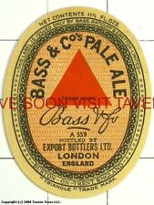 England Bass Ale Export Bottlers London label Tavern Trove