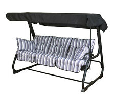 Deluxe Garden Pendulum 3 Seat Swing Hammock Bed 10cm Thick Cushions Lilac Stripe