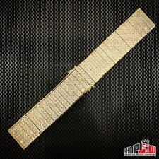 Mens 14k Yellow Gold Plated Simulated Diamond Hip Hop Watch Band Bracelet 22mm