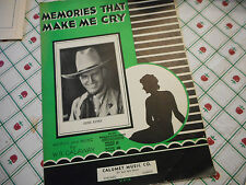 Gene Autry Memories That Make Me Cry 1932 Photo Sheet Music