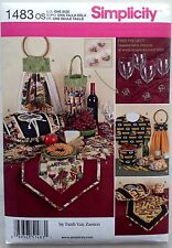 Simplicity Pattern 1483 Casserole Cover Table Runner Bib Wine Tote Bucket Cover