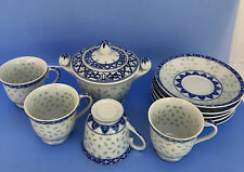 Japanese Translucent Rice Pattern Blue White Bone China Teacups Saucers