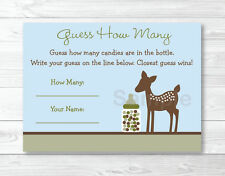 "Willow Deer Blue Printable Baby Shower ""Guess How Many?"" Game Cards"