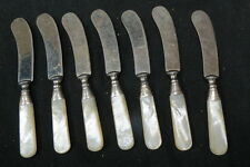 7 vintage butter knifes / spreaders / curved blade MOP handle sterling band