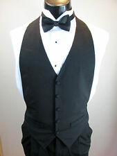 Mens Formal Black Wool Vest 5 Button Front  Bow Tie Included Size Small B7