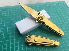 Assisted Opening Golden Folding Pocket Knife  Outdoor Hunting Camping with Clip