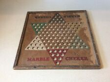 Vintage Marble Cheker Board     Chinese Checker Marble Board