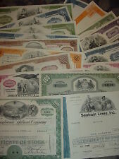 Lot of 14 Different Stock Certificates Pennsylvania Railroad Pan Am Erie