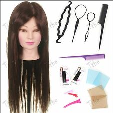 "50% Real Hair 24"" Training salon doll mannequin head hairdressing practice Braid"
