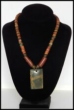 "Handmade Jasper Pendant Bauxite Bead and Antique Glass Necklace, Brass 19"" long"