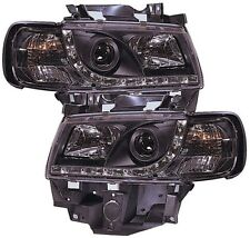 VW Transporter T4 96-03 Longnose Black DRL Projector Headlights Lighting Lamp