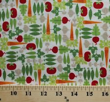 Mini Morsels Vegetables Veggies White Cotton Fabric Print by the Yard D764.26