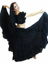 "Black Tribal gypsy 25 yards yard belly dancing cotton skirt L36"" LONG - AMERICAN"