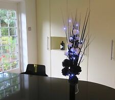 Black/White flowers & vase,20 LED lights Gift wedding tables, lounge,dining room