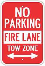 "12""X18"" NO PARKING FIRE LANE TOW ZONE ALUMINUM SIGNS Heavy Duty Metal Arrows"