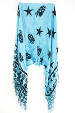 ELEGANT LADIES BABY BLUE / BLACK ABSTRACT BOLD STAR PRINT SCARF UNQIUE NEW(MS35)