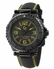 NEW NWT GUESS COLLECTION GC WATCH DATE BLACK YELLOW STRAP X79014G2S DIVER SPORT