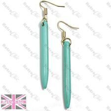 TURQUOISE long SPIKE EARRINGS veined gemstone SPIKY drop BLUE/GREEN gold plated