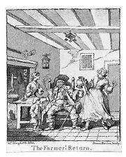 Incisione in rame da disegno di HOGARTH - The Farmer's Return