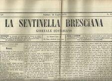 Giornale Quotidiano La Sentinella Bresciana N. 190 Art. Autografi Manzoni 1875
