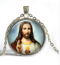 Jesus Photo Cabochon Tibet silver Glass Chain Pendant Necklace 143
