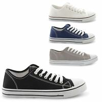 NEW MENS FLAT CANVAS PLIMSOLE PUMPS SNEAKERS LACE UP TRAINERS SIZES UK 7-12