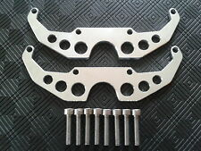 CNC BRUSHED FINISHED SQUARE HEAD PROTECTORS MOTO GUZZI ROUND HOLES + 8 FIXINGS