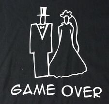 Game Over Bride and Groom Marriage Humor T-Shirt Black Size XL Bachelor Party