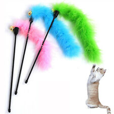 Protable Animal Cat Pet Teaser Turkey Feather Wire Chaser Wand Activity Gift New
