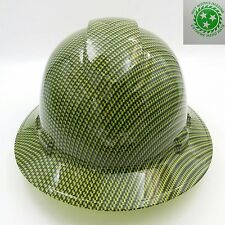 FULL BRIM Hard Hat custom hydro dipped ,  GREEN CARBON FIBER SUPER SICK !!! OSHA
