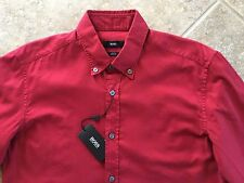 Hugo Boss Black Label Rod Button Down Shirt Mens XXL Slim Red Oxford NWT $155