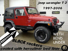 JEEP TJ DIAMOND PLATE black SIDE ROCKER PANELS with 1 inch bend & cut out