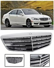 For 07-13 Benz S-Class W221 AMG Style Front Bumper Hood Chrome Conversion Grille