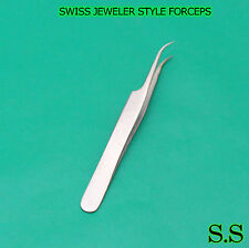 "4 PC O.R GRADE SWISS JEWELER STYLE FORCEPS 4.5"" CURVED"