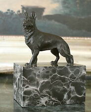 German Shepherd Military Police K-9 Dog Lover Trainer Bronze Marble Statue Art