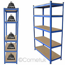 Heavy Duty 5 Tier Boltless Industrial Racking Garage Shelving Storage Shelf Bay