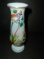 English Victorian Bristol Glass Vase w Exotic Hand Painted Bird of Paradise 1880