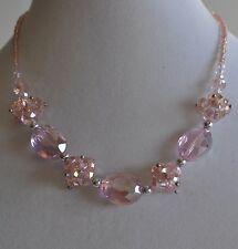 KIRKS FOLLY  PINK CRYSTAL BEADED NECKLACE MAGNETIC CLOSURE SILVER TONE