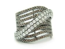 Black Gold Sterling Silver Diamond Set Chocolate Sapphire Wide Design Band Ring