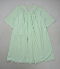 Vtg SHADOWLINE Mint Green Lace Knee Length 3/4 Sleeve Peignoir Nightgown Dress L