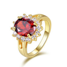 Fantastic Round Cut Size 9 Womens 10KT Gold Filled Garnet Anniversary Rings