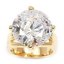 Dolly-Bijoux Grosse Bague T68 Sertie Gros Diamant Cz 15 mm Plaqué Or 18K 5Micron