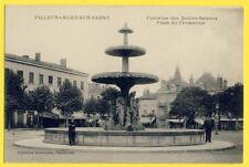 cpa VILLEFRANCHE SUR SAÔNE  Rhône Place du PROMENOIR FONTAINE Commerce A. LAPALU
