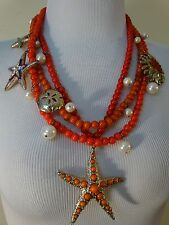 Statement Necklace multi strand Sea Life Charms Pendants Coral beads Designer