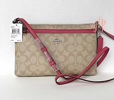 COACH Pink Trim East West Crossbody Pop Up Pouch Messenger Signature Bag F58316
