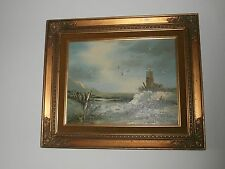 "Antique Lighthouse Oil Painting 19"" x 16"" original & signed"