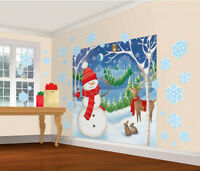 Christmas Snowman Scene Party decoration Wall Scene Stickers backdrop FREE P&P